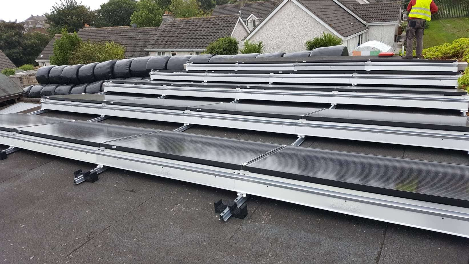 11kWP Flat Roof Railing System Development in progress at Wicklow
