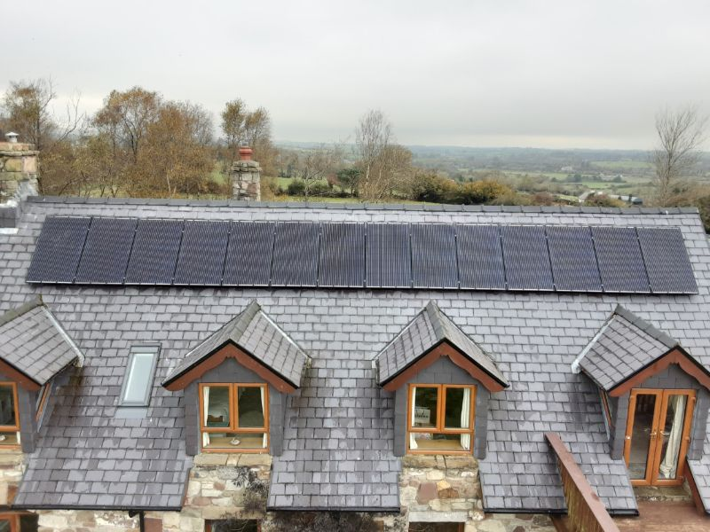 House showing Solar PV panels installed - About Solar PV